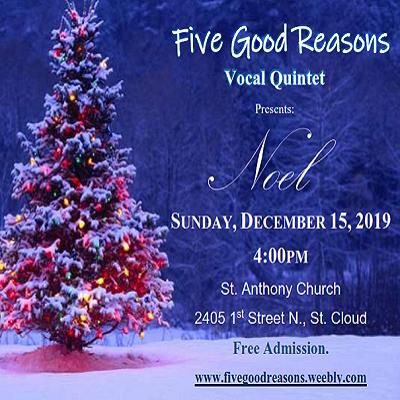 """Five Good Reasons A Cappella Quintet presents """"Noe..."""